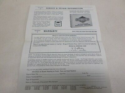 Used Briggs & Stratton Operating & Maintenance Instructions Models 190700-190707