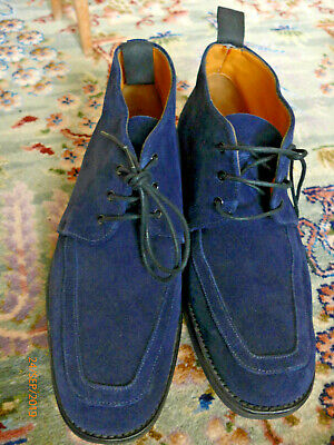"""Top Quality Retro """"Grenson """"England Dark Blue Suede Leather Ankle Boots- 8F Uk"""