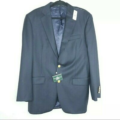 Brooks Brothers Size 41L Navy Blue Fitzgerald Fit Two Button 1818 Wool Blazer