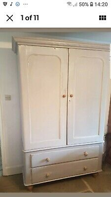 Antique  Victorian pine Annie Sloane  painted wardrobe