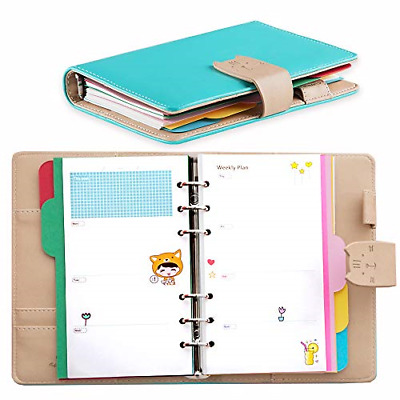 Undated Weekly Planner with Rings,Leather Cat Diary Organizer for Time Dotted