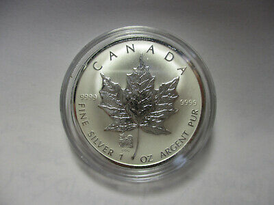 2006 CANADA 1 oz .9999 SILVER Reverse Proof $5 MAPLE LEAF with DOG PRIVY MARK