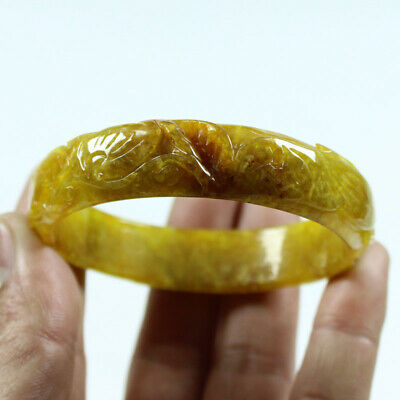 62mm Chinese Hand-carved Brown Yellow Jade Jadeite Gems Bangle Bracelet a1527