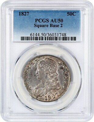 1827 50c PCGS AU50 (Square Base 2) Bust Half Dollar