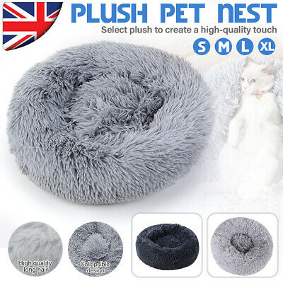 Comfy Calming Dog Cat Bed Pet Super Soft Plush Marshmallow Puppy Beds Beds Round