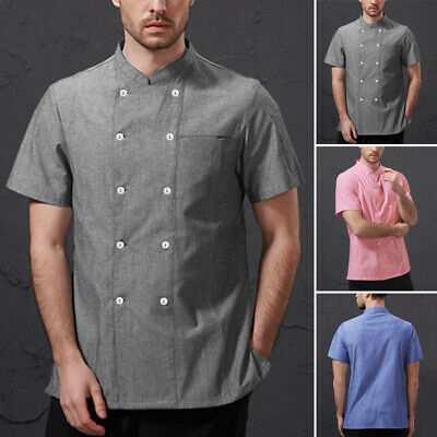 SMALL FREE2DAYSHIP NEW Chef Works Mens Morocco Short Sleeve Chef Coat Blue