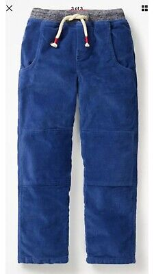 Boys Mini Boden Blue Corduroy Trousers Joggers LINED Age 6 Excellent Condition