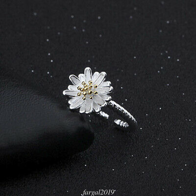 925 Sterling Silver Daisy Flower Ring Fashion Sizable Ring Women Jewelry Gifts