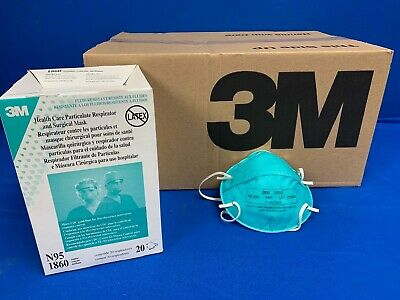 N95 3M 1860 Respirator Surgical Particulate Mask, Fluid Resistant, Case of 120