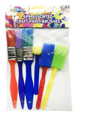 6 Assorted Artist Paint Foam Brushes Acrylic Oil Painting Watercolour