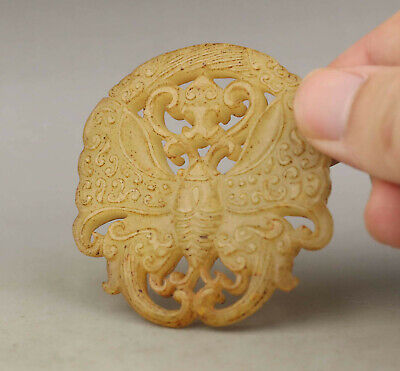 Old Chinese natural jade hand-carved butterfly pendant