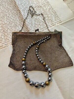 Antique Pre 1920s Chainmail Silver Metal Bag & Chrome 20s Necklace