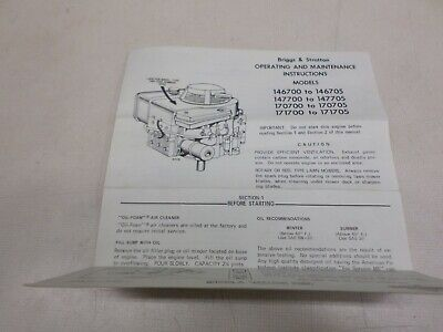 Briggs & Stratton Used Operating & Maintenance Insturctions Various Models
