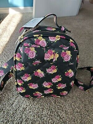 Betsey Johnson Black Floral Roses Quilted Small Backpack NWT