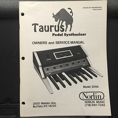 Original Service & Owner Manual for the Moog Norlin Taurus 205A Synthesizer