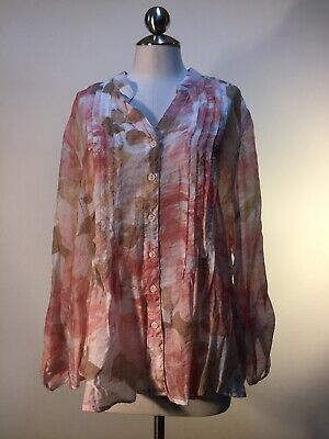 Ruby Rd. White Light Pink Pleated Rayon Nylon V Neck Sheer Button Blouse Size L