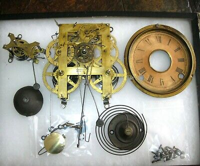 Vintage Ingraham Mantle Kitchen Clock Movement Key Hands Pendulum Alarm Bell