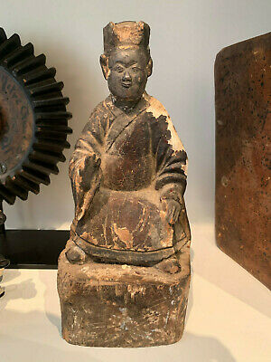 Antique Chinese Hand Carved Wood Temple Ancestor  Figure Rare