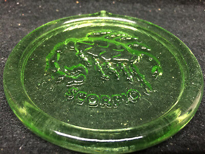 Green Vaseline uranium glass Scorpio Christmas ornament sun catcher Xmas Zodiac