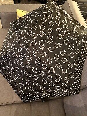Owl Umbrella Black And White With Pink Handle - Primark