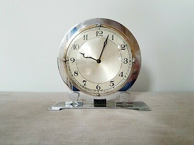 Original Chrome Art Deco Clock Circular 8 Day  1930s Vintage WORKING