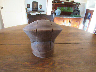 Vintage Wood Wooden Millinery Hat Block Puzzle Block Mold Form Old Antique
