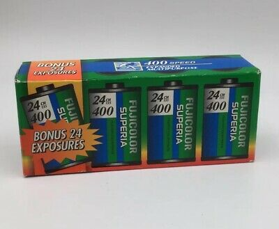 Vintage Fujicolor Superia 400 24x 35mm Film, (96exposures) 4 Roll Box