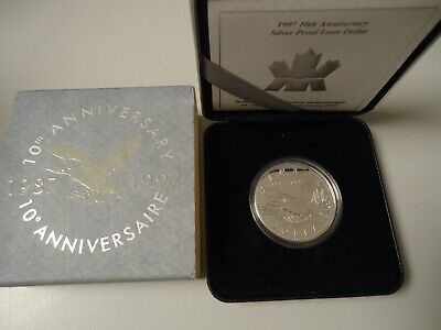 CANADA KANADA 1997 - 1 Dollar in Silber, PP - 10 Jahre Flying LOON Ente