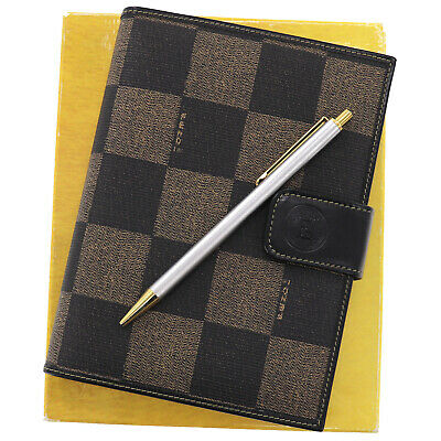Fendi Check Agenda 1997 Day Planner Black Brown PVC Leather Vintage Auth AB527 O