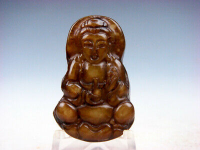 Old Nephrite Jade Hand Carved *Kwan-Yin Buddha Water Bottle* Pendant #02102009