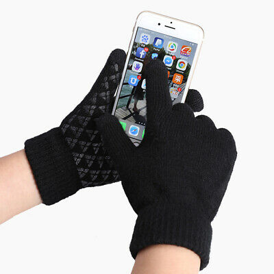 Winter Warm Touchscreen Gloves for Women Men Knit Wool Lined Texting #KN