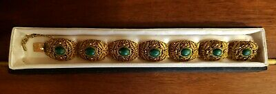 Malachite & Vermeil Filigree Bracelet Vintage Chinese and Gorgeous!