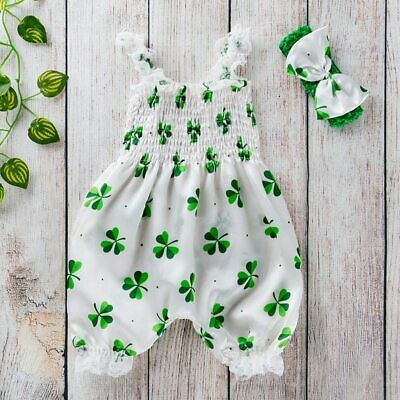 Toddler Baby Boy Girls St. Patrick's Day Sleeveless Romper Jumpsuit Clothes