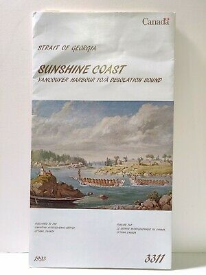 VTG Strait of Georgia Victoria B.C Sunshine Coast 1993 Nautical Chart Map Canada