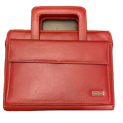 """FRANKLIN COVEY CLASSIC PLANNER RED LEATHER 1.25"""" 7 Rings Handles Purse EUC"""