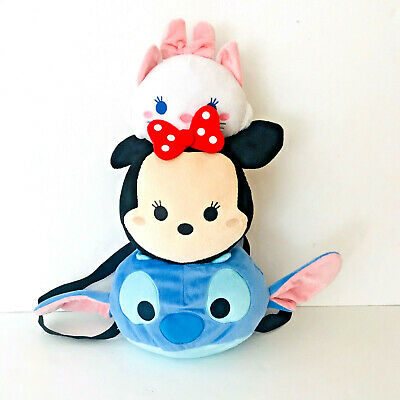 Girls Licensed Disney Tsum Tsum Stitch Minnie Marie 19 Inches Plush Backpack