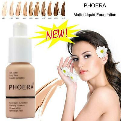 PHOERA Soft Matte Full Coverage Liquid Foundation Concealer Longlasting