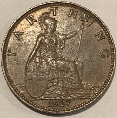 1927 Great Britain GB UK England Farthing KGV Coin High Grade