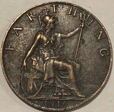1916 Great Britain GB UK England Farthing KGV Coin