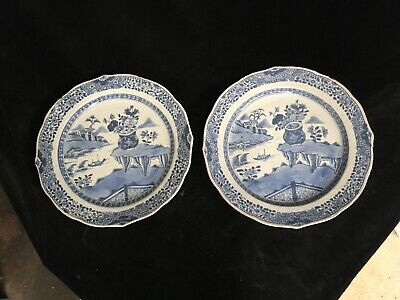 Antique Pair Early Ceramic Blue & White Chinese Plates SD