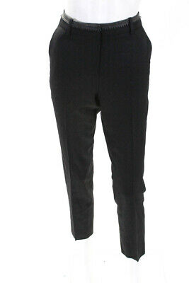 The Kooples Womens Leather Trim Slim Leg Trousers Black Wool EUR Size 36