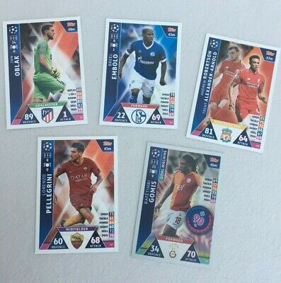 5 Topps UEFA Champions League 2018-2019 cards Match Attax Nos:20 105 216 247 377
