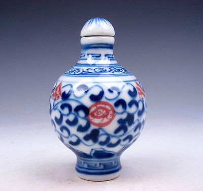 Blue&White QingHua Ox-Blood Red Floral Painted Porcelain Snuff Bottle #04061701