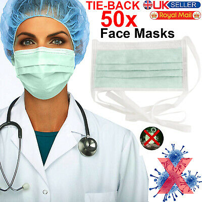 50X Surgical Face Mask Disposable Dental Dust Flu Virus Face 3 Ply Best Quality