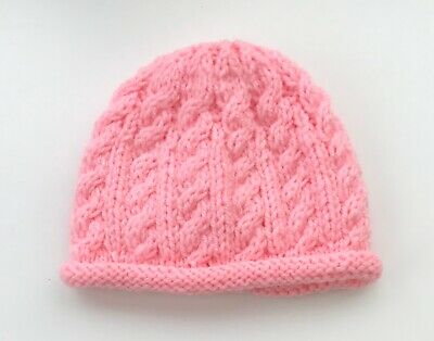 New Hand Knit Hat for a Newborn Baby in Pink