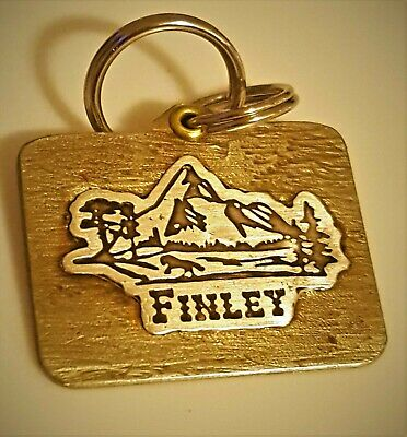 CUSTOM ENGRAVED PERSONALIZED PET TAG ID DOG CAT NAME TAGS DOUBLE SIDE Brass