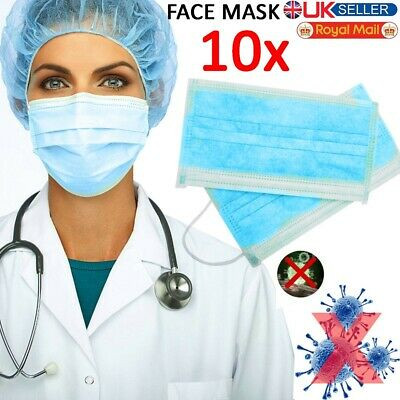 10X Disposable Surgical Face Mask Dental Flu Virus Dust Mouth 3 Ply & Masks