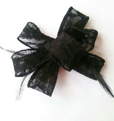Black Lace Feather Fascinator Wedding Monochrome Guest Mother Hair Clip