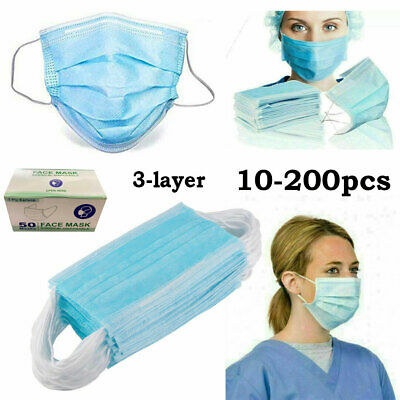 10~200 Disposable Surgical Face Mask Dental Industrial Anti dust 3Ply Ear Loop