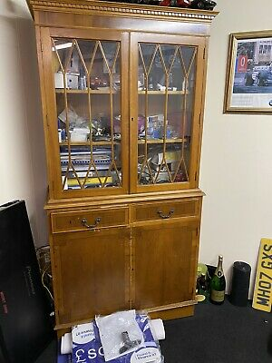 English Reproduction Furniture Bookcase Display Cabinet, Desk And 4 Drawer Unit